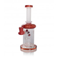 """9"""" Red Banger Hanger with Etched Work and Honey Comb Perc"""