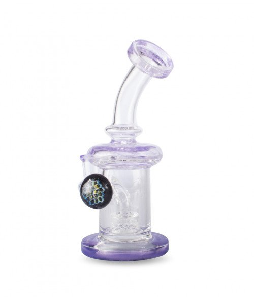 "7"" Banger Hanger Clear and Purple w/ Honey Comb Perc"