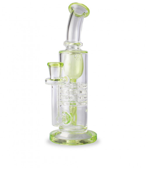 """9"""" Clear and Slime Incycler w/ Swiss Perc"""