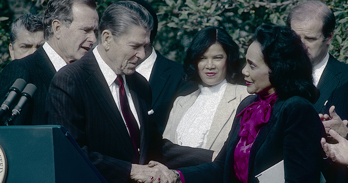 Former President Ronald Reagan with Coretta Scott King