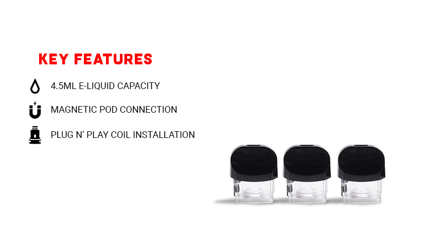 SMOK Nord 2 RPM Replacement Pods without Coil 3pk Key features