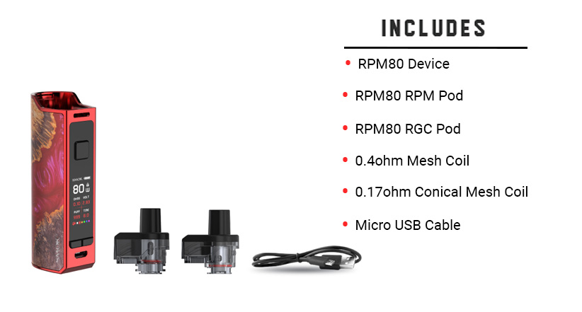 Included with the SMOK RPM80 Kit
