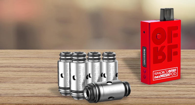SMOK nexMESH Replacement Coils standing on table