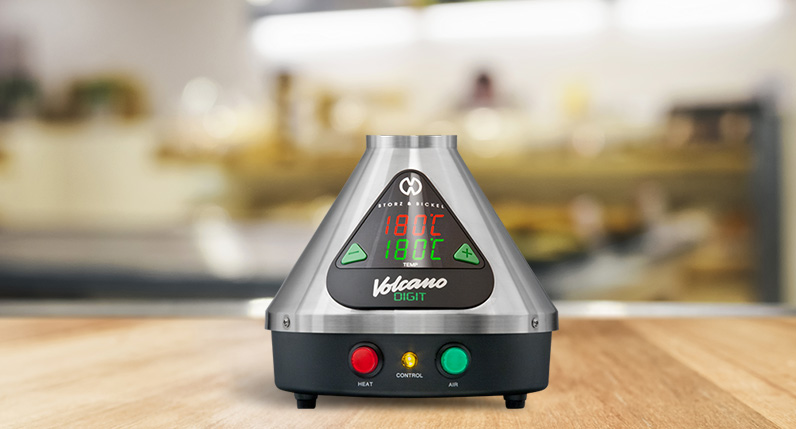 Digital Volcano Vaporizer standing on table